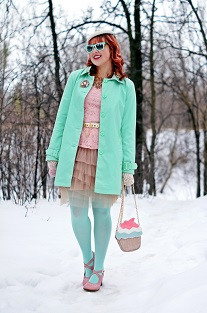 Everyday Outfit for April 12, 2013, Jessica pastel mint spring jacket coat, Jessica pastel pink lace peplum top, BCBG Max Azria nude tulle tiered layered skirt, Hue mint tights, BCBG Max Azria white toggle belt, Aldo accessories cupcake clutch handbag, vintage velvet cream hat, vintage cream crochet gloves, Icing pink tulle flower ring, Forever 21 pastel crystal brooch pin, BCBG Max Azria purple stone gold statement flower necklace, Forever 21 mint mirror sunglasses, Fluevog pastel pink Operetta Malibran leather retro heels