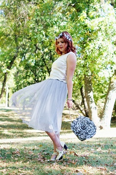 Everyday Outfit for September 11, 2012, Vintage silver brocade top, Forever 21 metallic blend tulle silver skirt, Neesie Designs white feather butterfly crown, Swarovski crystal chocker necklace, Swarovski intervalle silver leather crystal bangle, High Fashion Handbags silver rose flower handbag, Swarovski crystal ring, Icing flower enamel white bangle, Fluevog ivory white grey Operetta Fiorenza heels