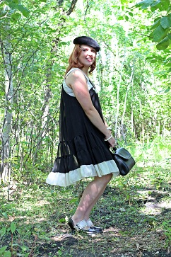 Everyday Outfit for September 1, 2012, Dimri black white chiffon ruffle dress, Vintage black velvet beret hat, Joan Rivers white gold enamel bangle, Bodhi black leather safety pin clutch, Fluevog black white leather Mini Zaza