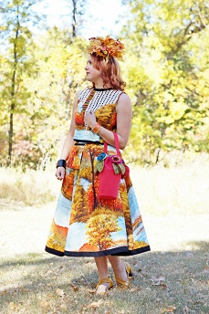 Everyday Outfit for September 25, 2012, Tony Chestnut gauzy african vintage landscape print sleeveless crop top, Tony Chestnut gauzy african vintage landscape print pocket circle cotton skirt, self made fall leaves facsinator hat, TJ Maxx black enamel crystal bangle, Joan River orange patent leather crystal watch, Concubine flower vase basket handbag, Fluevog goldenrod mustard yellow Operetta Viardot leather heels